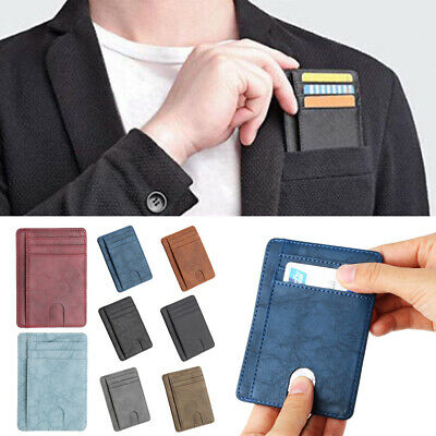 Hot Men RFID Blocking Leather Slim Wallet Clip Credit Holder Coin Pocket Fashion
