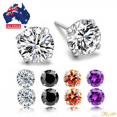 New 925 Silver Classic Crystal Lab Diamond Cutting Stud Earrings Gift