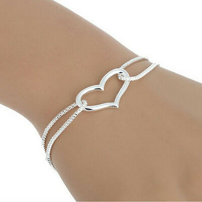Women Charm Bracelet 925 Silver Plated Love Heart Chain Fashion Jewelry