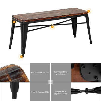 Admirable Metal Dining Bench Wood Seat Modern Industrial Farmhouse Ibusinesslaw Wood Chair Design Ideas Ibusinesslaworg