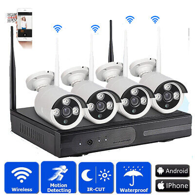 Wireless 8CH VGA/HDMI NVR 4 720P Outdoor IR-CUT CCTV Camera Home Security System