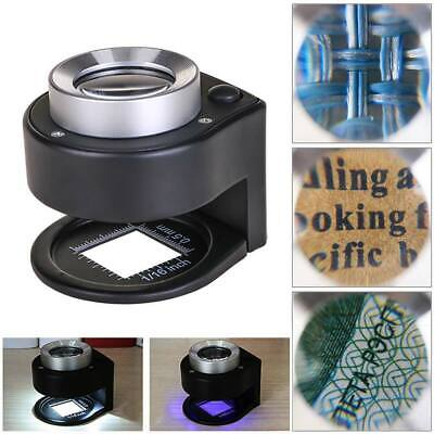 Magnifier Cloth Jeweler 30x Magnifying Glass Metal Loupe with Scale 3 LED Lights