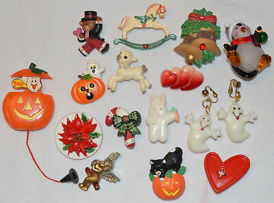 Lot Vintage Plastic Holiday Brooch Pins Hallmark Russ Christmas Valentine Easter