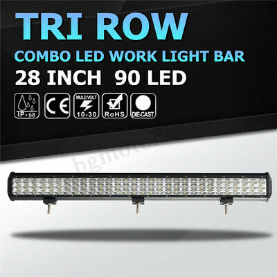 28 Inch 900W Tri-Row LED Work Light Bar Driving Fog Combo Lamp Offroad Boat