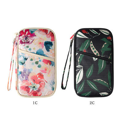 Travel Wallet Passport Document ID Credit Card Holder Organizer Bag Purse Floral