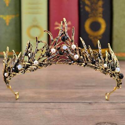 Baroque Antique Tiara Black White Crystal Pearl Beads Crown Wedding Prom Party