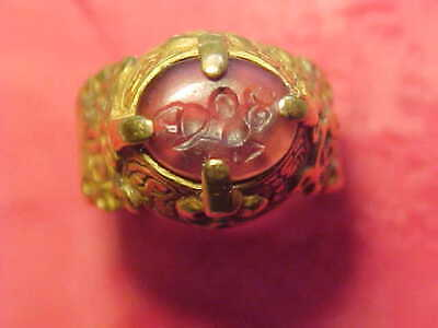 Islamic gold intaglio ring circa 18th century AD