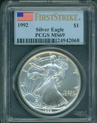 1992 American Silver Eagle ASE S$1 PCGS MS69 MS-69 FIRST STRIKE FS !!!