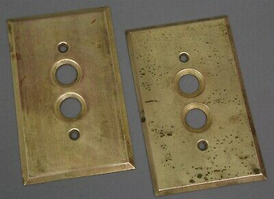Lot of 2 Antique SOLID BRASS LIGHT SWITCH PLATE COVERS Architectural Salvage