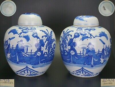 LARGE! PAIR Antique Chinese Blue and White Vase & Cover KANGXI 19th C CHRISTIE'S