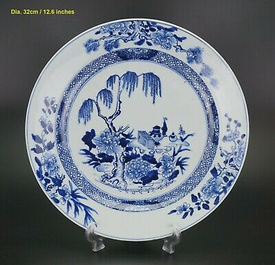 LARGE Antique Chinese Porcelain Blue and White Charger Plate 18th C Perfect Cond