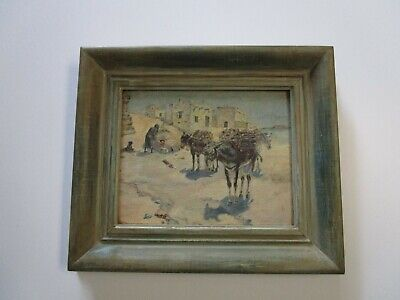 Antique Native American Indian Painting Old Adobe Desert Landscape Christenson