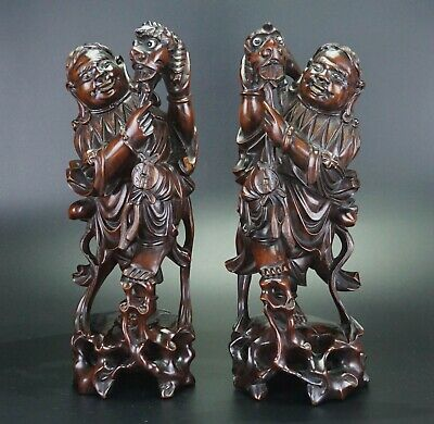 LARGE Pair Antique Chinese Hongmu Wood Carving Figure of HEHE Er Xian Immortals