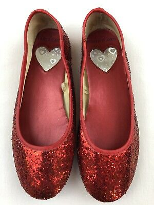 22b19c45f Big Girls Sz 3 Red Glitter Shoes Slip On Ballet Flats Dorothy Wizard Oz  Holiday