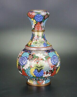 Antique Chinese Bronze CLOISONNE Double Gourd Garlic Mouth Vase 18/19th Century