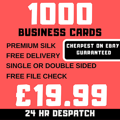 Business Cards 1000 Double Sided or Single Printing Full Colour Free Delivery