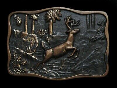 Ll17116 Vintage 1978 **Deer Jumping Over Stream In Forest** Solid Brass Buckle
