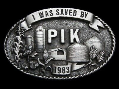 Ma07165 Vintage 1983 **I Was Saved By Pik** Farming Pewter Belt Buckle