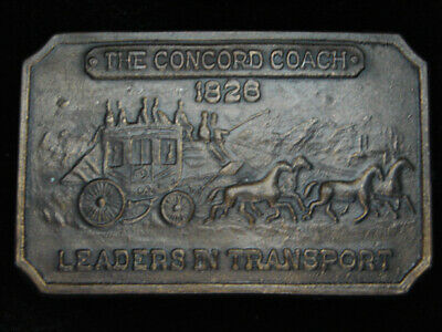 PH11137 VINTAGE 1970s **THE CONCORD COACH 1826** OLD WEST BRASSTONE BELT BUCKLE