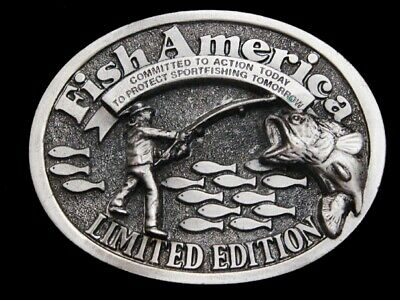 MA31111 VINTAGE 1990s **FISH AMERICA*** LIMITED EDITION PEWTER BELT BUCKLE