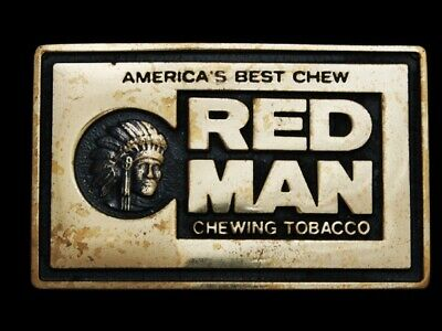 Ma13101 Vintage 1978 **Red Man Chewing Tobacco** Indian Chief Solid Brass Buckle