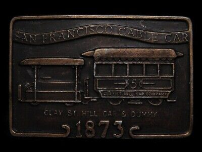 MA11151 VINTAGE 1970s **SAN FRANCISCO CABLE CAR - 1873** BELT BUCKLE
