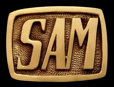 Oa28140 *Nos* Vintage 1978 Bts  ***Sam*** Small Solid Brass Name Buckle
