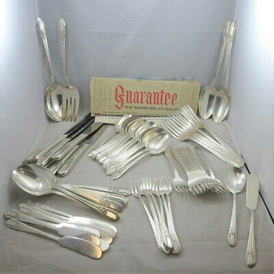 Vintage Wm Rogers Mfg Co Silver Plated Flatware Set or Craft Lot Reflection 70 P