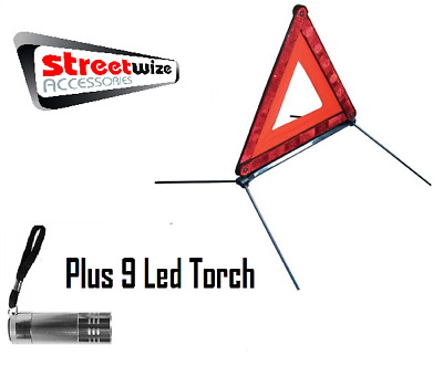 Streetwize CE Approved Warning Triangle With Free 9 LED Torch - Free Delivery