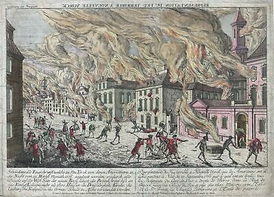 1776 Habermann View of New York during the Great Fire of 1776