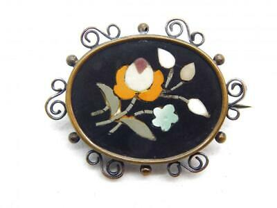 Petite Antique Victorian Georgian Mosaic Pietra Dura Pin Brooch Gold Filled