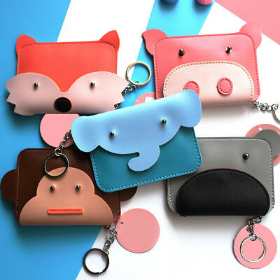 Fj- Kids Girl Cartoon Animal Faux Leather Coin Purse Mini Wallet Key Ring Nice