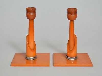 A Fantastic Pair Of Art Deco Amber Bakelite Candlesticks In Excellent Cond.