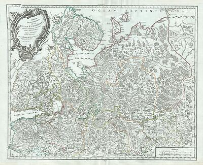 1757 Vaugondy Map of Northern European Russia (Russia, Latvia, Estonia)