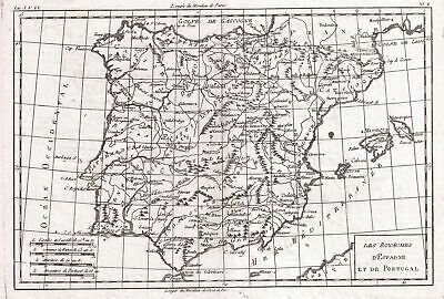 1780 Raynal and Bonne Map of Spain and Portugal