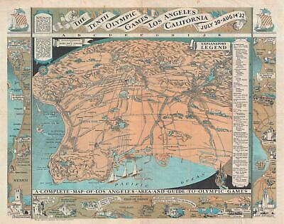 1932 Atwood Pictorial Map of Los Angeles for the Olympic Games