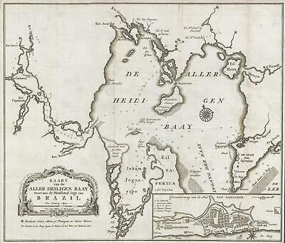 1767 Isaak Tirion Map of Salvador and All Saints Bay, Brazil
