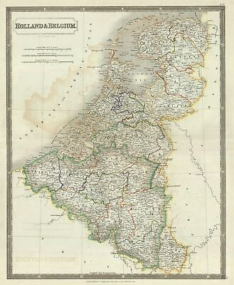 1835 Hall Map of Holland and Belgium