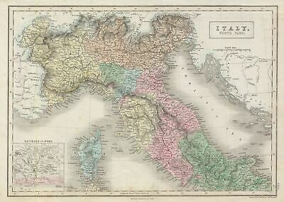 1851 Black Map of Northern Italy (Tuscany, Piedmont, Venice)