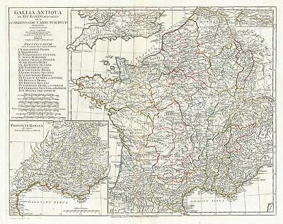 1794 Anville Map of Gaul (Gallia) or France in ancient Roman Times