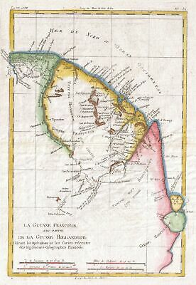 1780 Raynal and Bonne Map of Guyana and Surinam