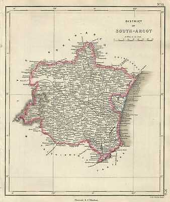 1854 Pharoah and Company Map of the District of South Arcot, Tamil Nadu, India