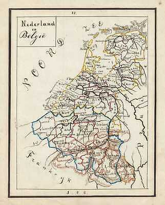 1871 Sikkel Manuscript Map of  the Netherlands (Holland), Belgium and Luxembourg