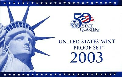 Uncirculated 2003 S United States Mint Proof Coin Set w/CoA EB396