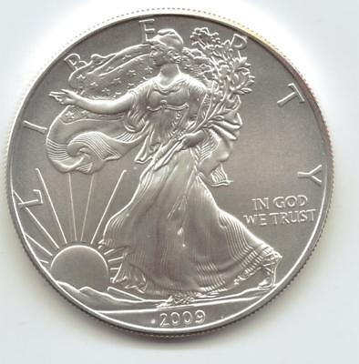 2009  Uncirculated American Silver Eagle  1-Troy oz. .999 Silver. Eagle is Clean