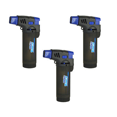 Turbo Blue XXL Jet Flame Refillable Torch Lighter - 3 Pack