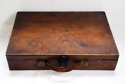 Beautiful Antique Wooden Case with Leather Handle - Latch Closing. 38 x 26 x 8cm