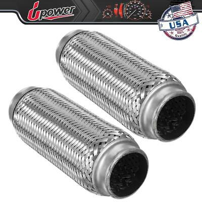 """SS409 EXHAUST FLEX PIPE OVERALL 12/"""" HEAVY DUTY 2/"""" X 8/"""" X 12/""""  STAINLESS STEEL"""