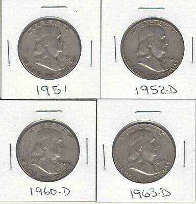 Four 90% Silver Franklin Half Dollars- Circulated-1951, 1952-D, 1960-D & 1963-D