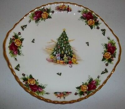 Royal Albert Old Country Roses Christmas Magic Cake Serving Plate Euc